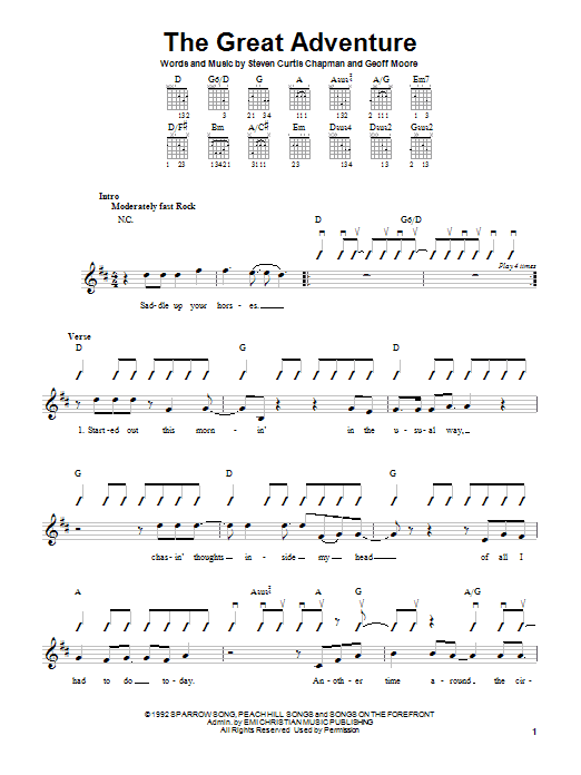 Steven Curtis Chapman The Great Adventure sheet music notes and chords. Download Printable PDF.
