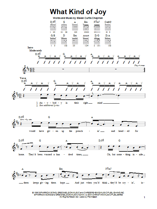 Steven Curtis Chapman What Kind Of Joy sheet music notes and chords. Download Printable PDF.