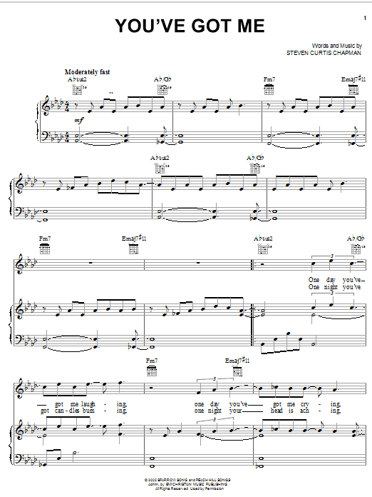 Steven Curtis Chapman You've Got Me sheet music notes and chords. Download Printable PDF.