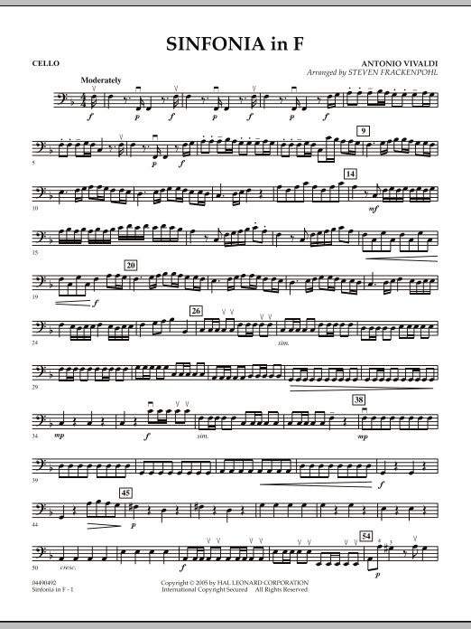 Steven Frackenpohl Sinfonia In F - Cello sheet music notes and chords. Download Printable PDF.