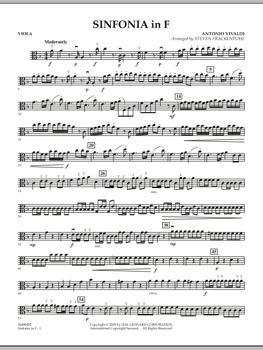 Steven Frackenpohl Sinfonia In F - Viola sheet music notes and chords. Download Printable PDF.
