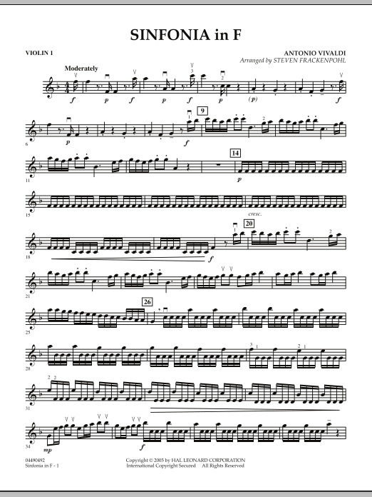 Steven Frackenpohl Sinfonia In F - Violin 1 sheet music notes and chords. Download Printable PDF.