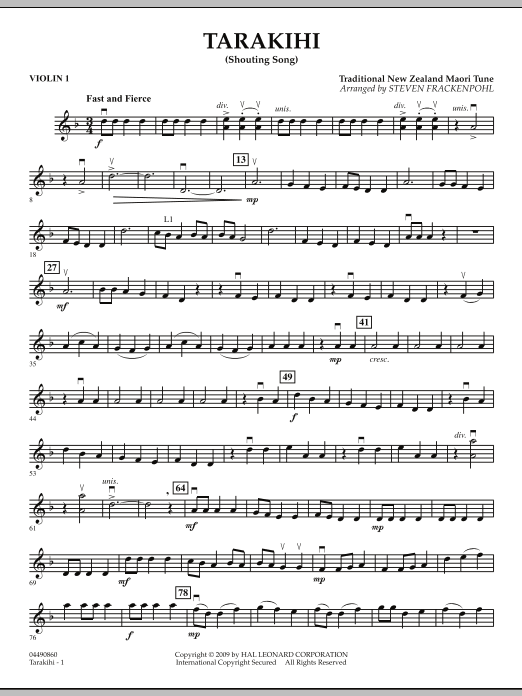 Steven Frackenpohl Tarakihi (Shouting Song) - Violin 1 sheet music notes and chords. Download Printable PDF.