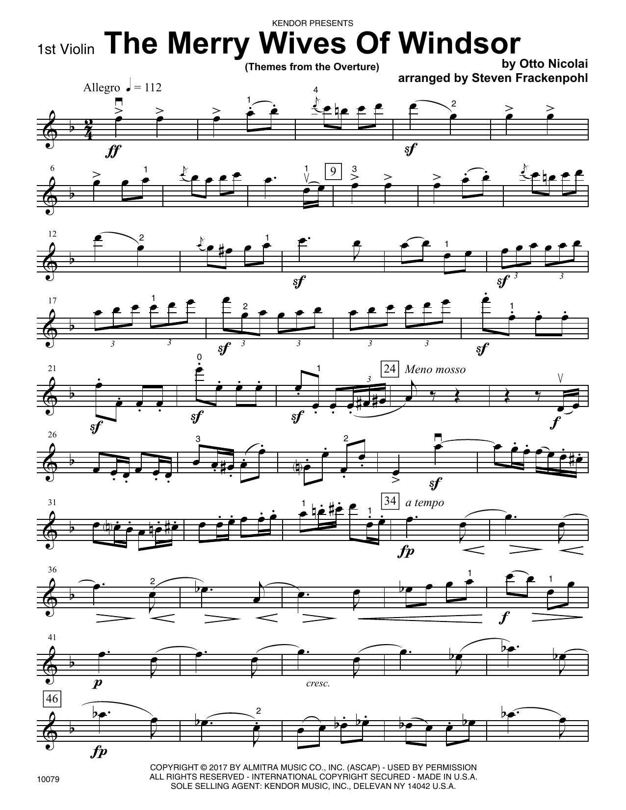 Steven Frackenpohl The Merry Wives Of Windsor (Themes From The Overture) - 1st Violin sheet music notes and chords. Download Printable PDF.