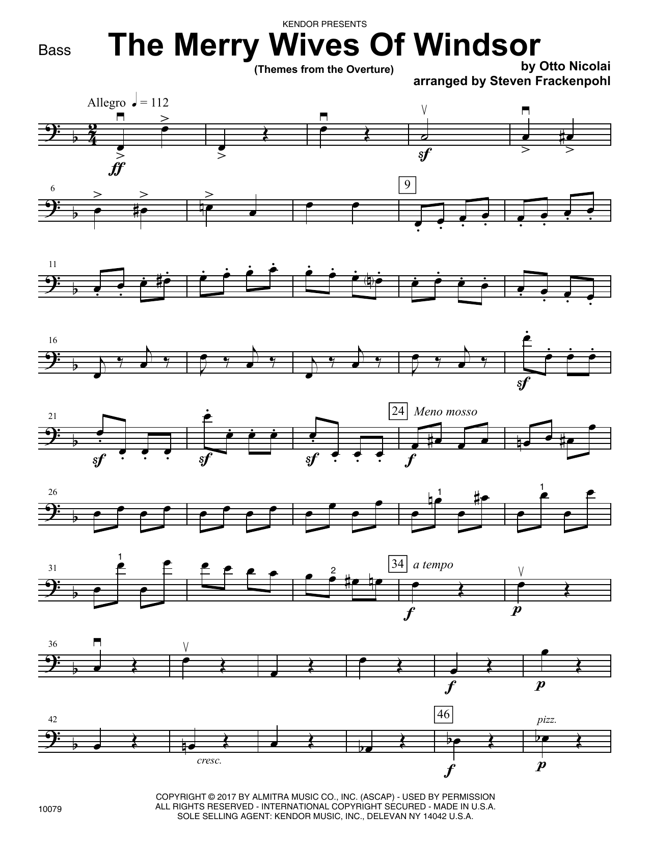 Steven Frackenpohl The Merry Wives Of Windsor (Themes From The Overture) - Bass sheet music notes and chords. Download Printable PDF.