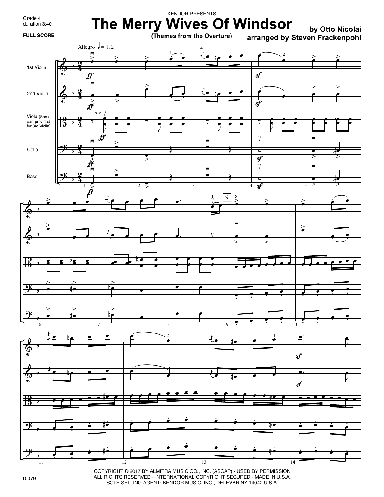 Steven Frackenpohl The Merry Wives Of Windsor (Themes From The Overture) - Full Score sheet music notes and chords. Download Printable PDF.