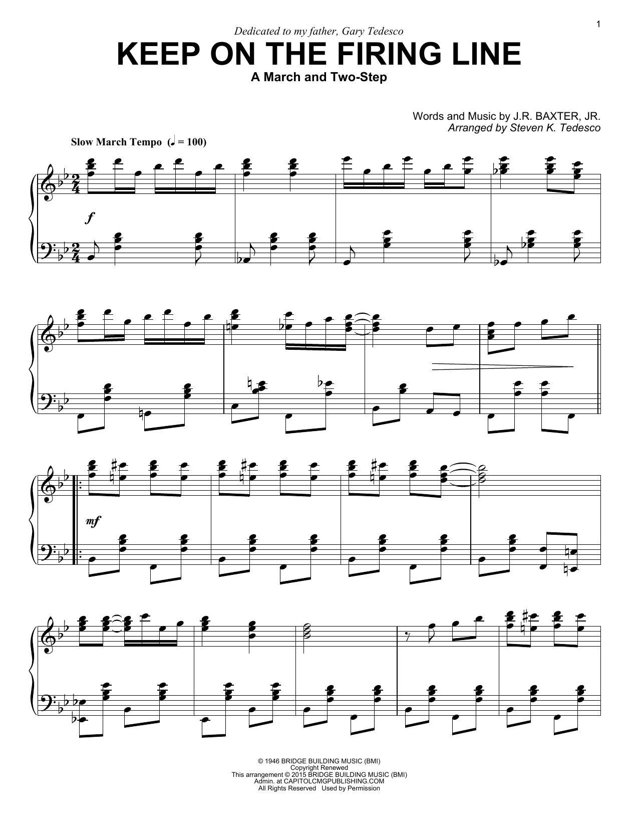 Steven K. Tedesco Keep On The Firing Line sheet music notes and chords. Download Printable PDF.