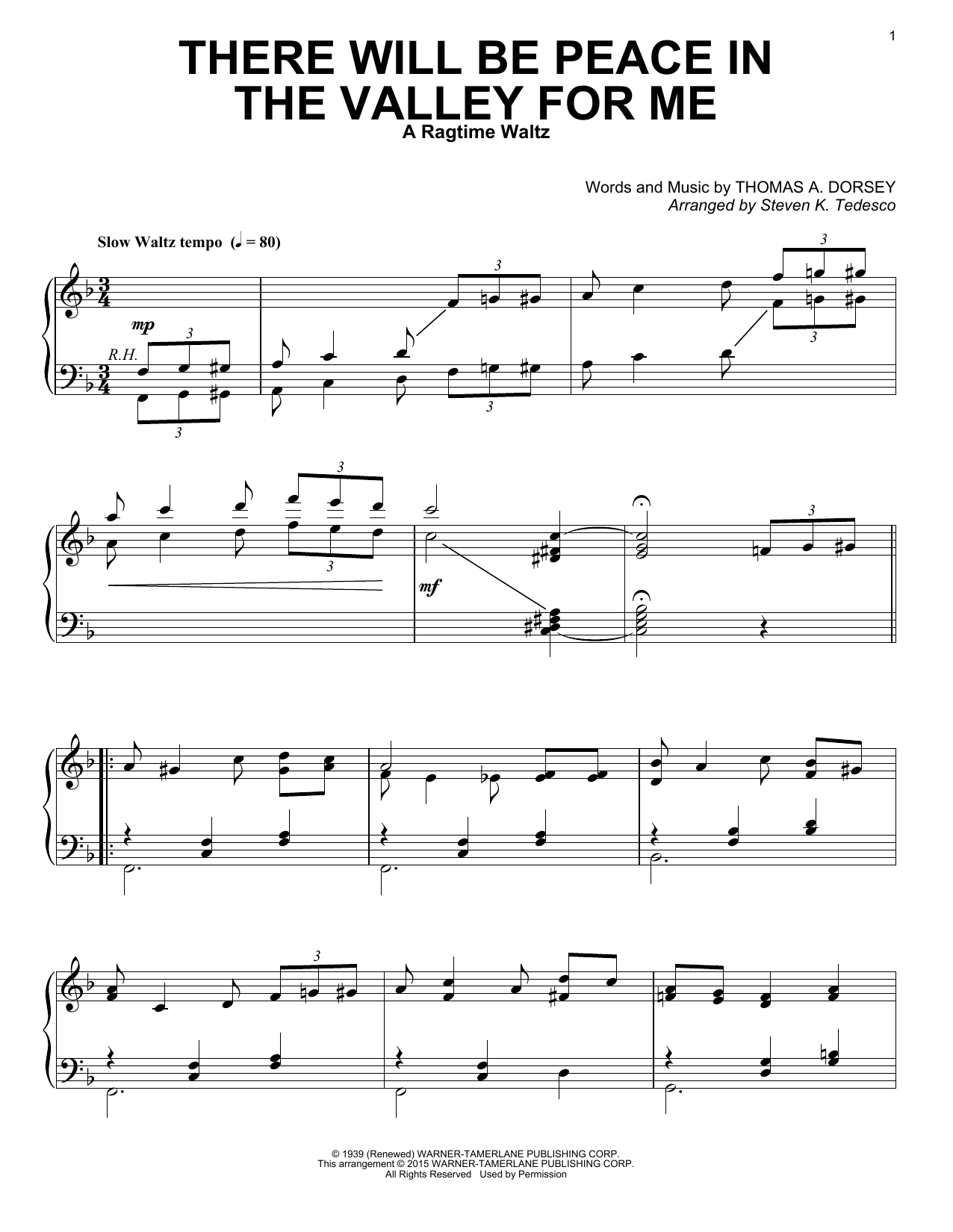 Steven K. Tedesco There Will Be Peace In The Valley For Me [Ragtime version] sheet music notes and chords. Download Printable PDF.