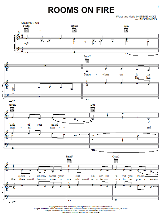 Stevie Nicks Rooms On Fire sheet music notes and chords. Download Printable PDF.