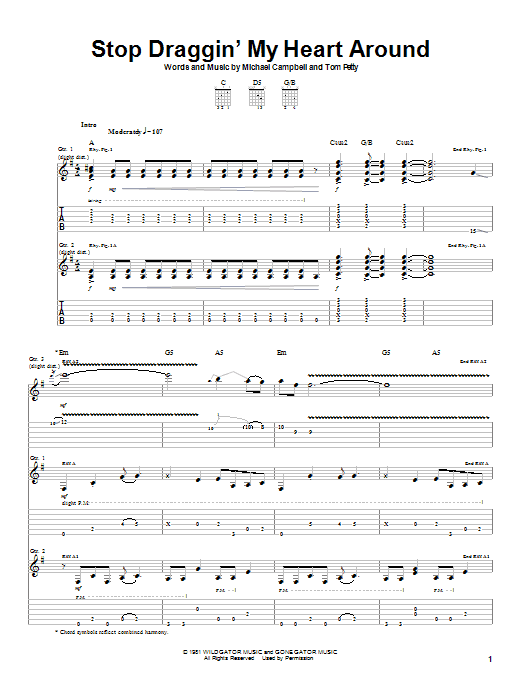 Stevie Nicks with Tom Petty Stop Draggin' My Heart Around sheet music notes and chords. Download Printable PDF.