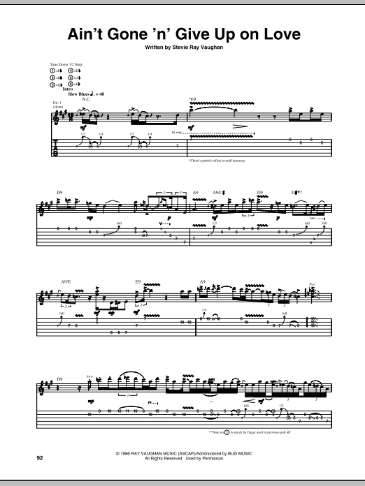 Stevie Ray Vaughan Ain't Gone 'N' Give Up On Love sheet music notes and chords. Download Printable PDF.
