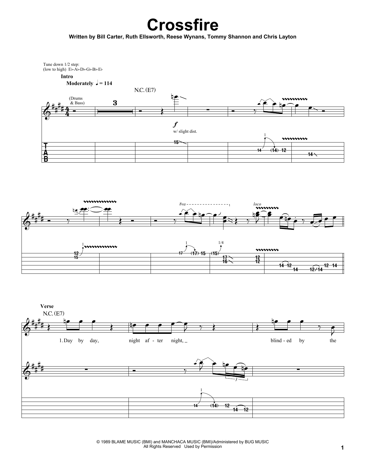 Stevie Ray Vaughan Crossfire sheet music notes and chords. Download Printable PDF.