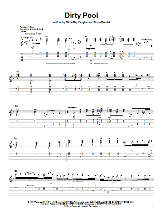 Stevie Ray Vaughan Dirty Pool sheet music notes and chords