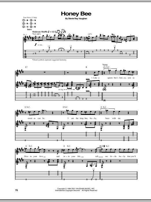 Stevie Ray Vaughan Honey Bee sheet music notes and chords. Download Printable PDF.