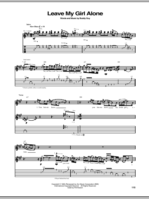 Stevie Ray Vaughan Leave My Girl Alone sheet music notes and chords