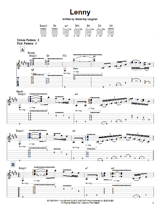 Stevie Ray Vaughan Lenny sheet music notes and chords. Download Printable PDF.