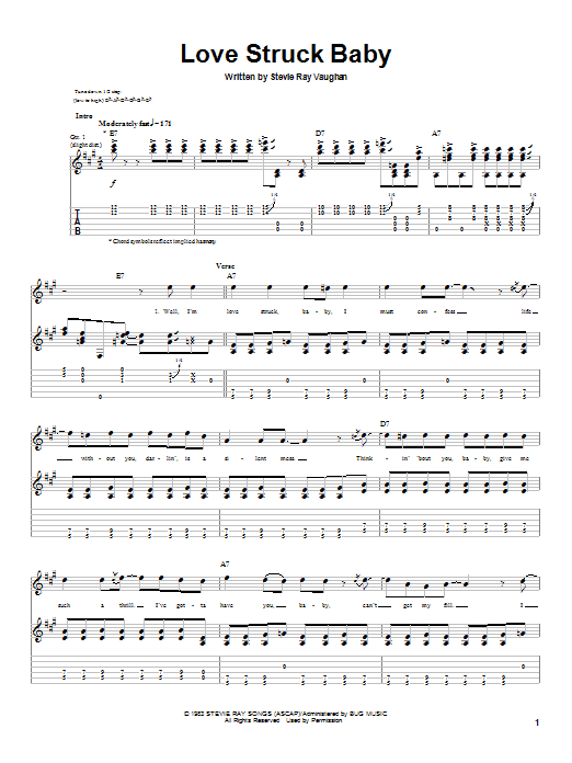 Stevie Ray Vaughan Love Struck Baby sheet music notes and chords. Download Printable PDF.