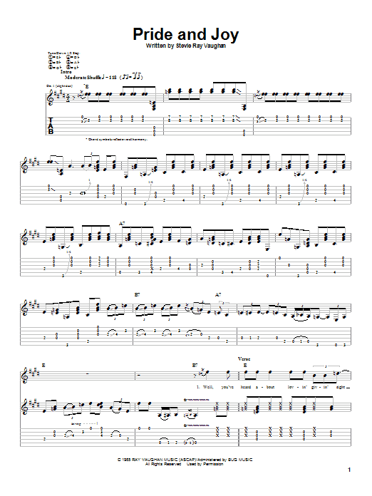 Stevie Ray Vaughan Pride And Joy sheet music notes and chords