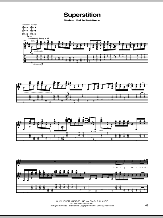Stevie Ray Vaughan Superstition sheet music notes and chords. Download Printable PDF.