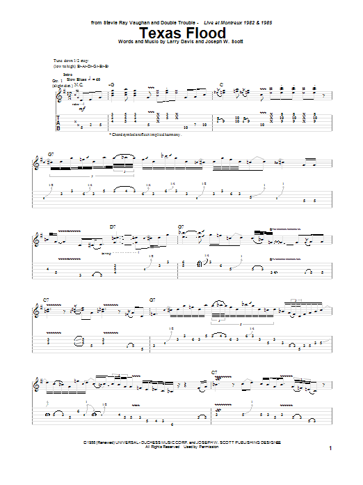 Stevie Ray Vaughan Texas Flood sheet music notes and chords. Download Printable PDF.