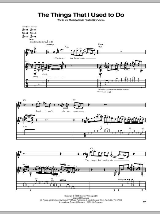 Stevie Ray Vaughan The Things That I Used To Do sheet music notes and chords