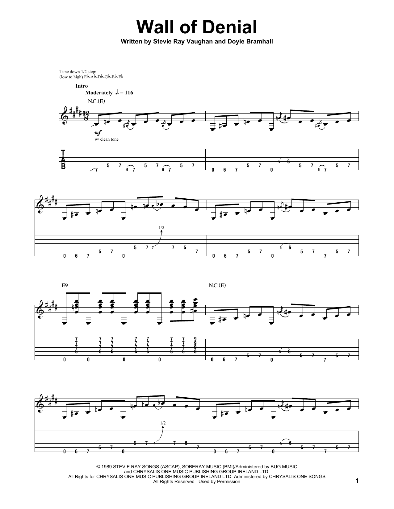 Stevie Ray Vaughan Wall Of Denial sheet music notes and chords. Download Printable PDF.