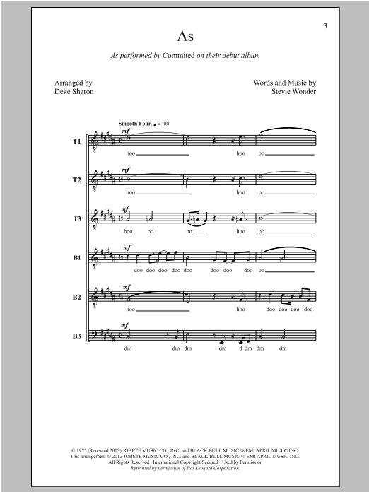 Stevie Wonder As (arr. Deke Sharon) sheet music notes and chords. Download Printable PDF.