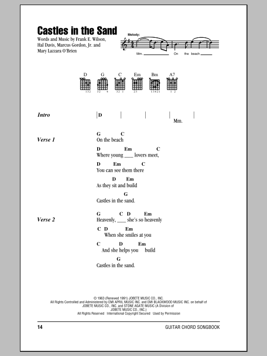 Stevie Wonder Castles In The Sand sheet music notes and chords. Download Printable PDF.