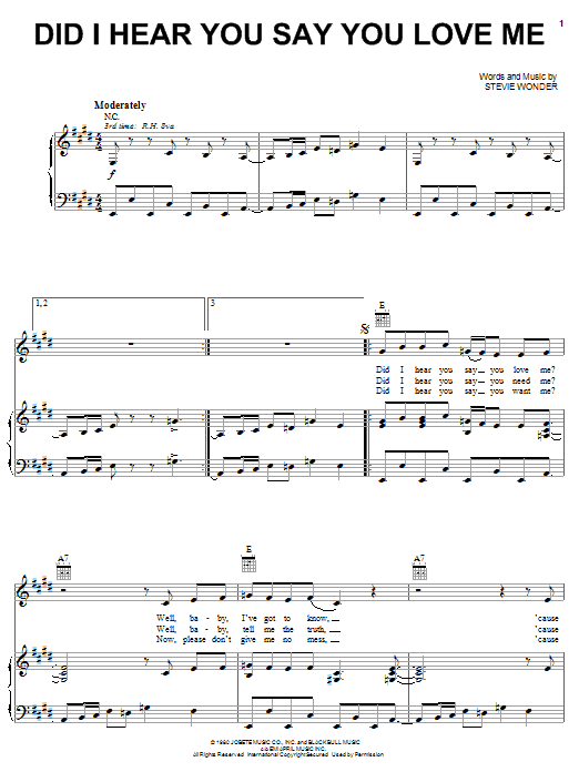 Stevie Wonder Did I Hear You Say You Love Me sheet music notes and chords