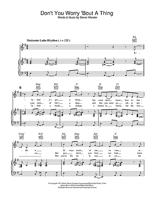 Stevie Wonder Don't You Worry 'Bout A Thing sheet music notes and chords. Download Printable PDF.