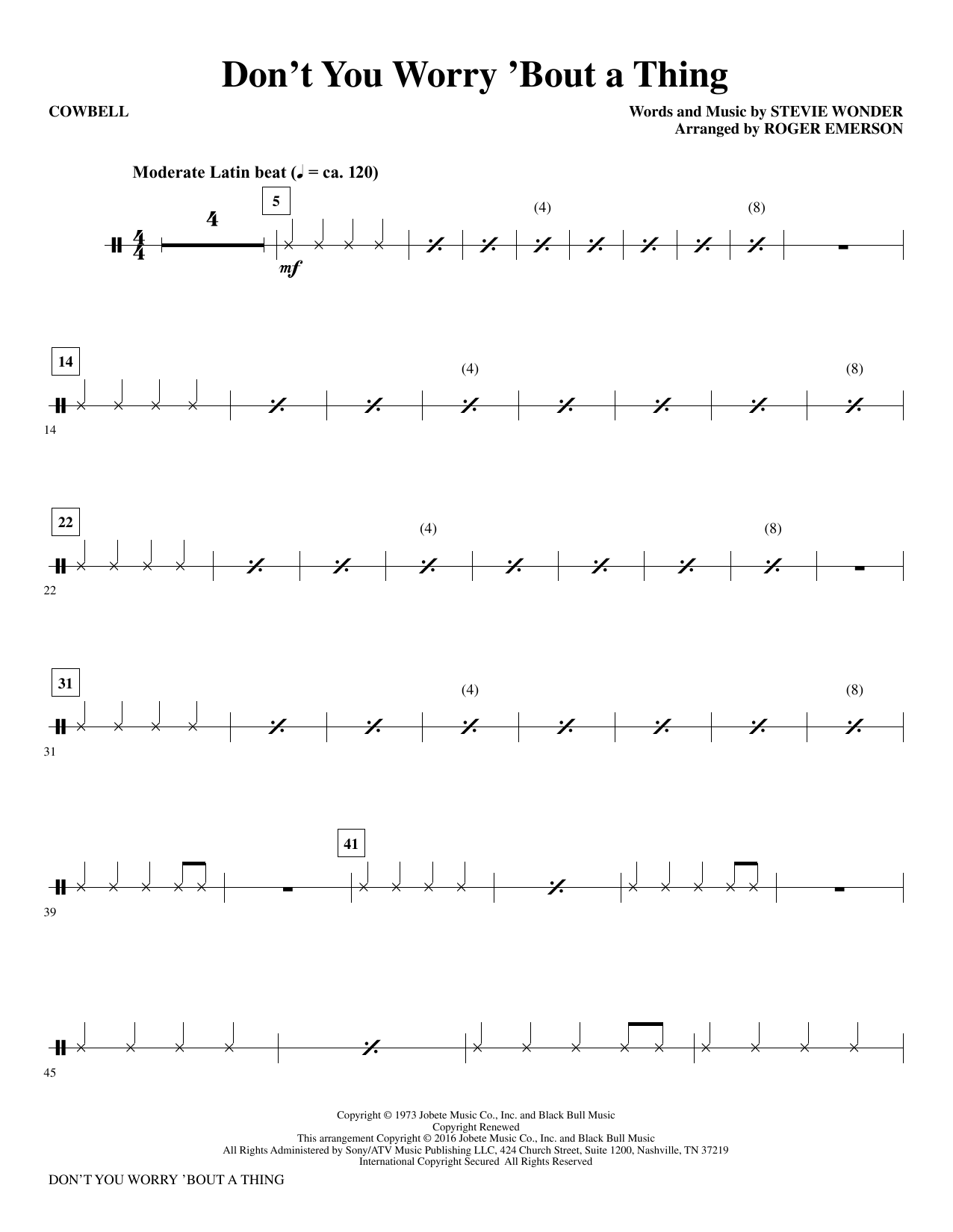 Stevie Wonder Don't You Worry 'Bout a Thing (arr. Roger Emerson) - Cowbell sheet music notes and chords. Download Printable PDF.