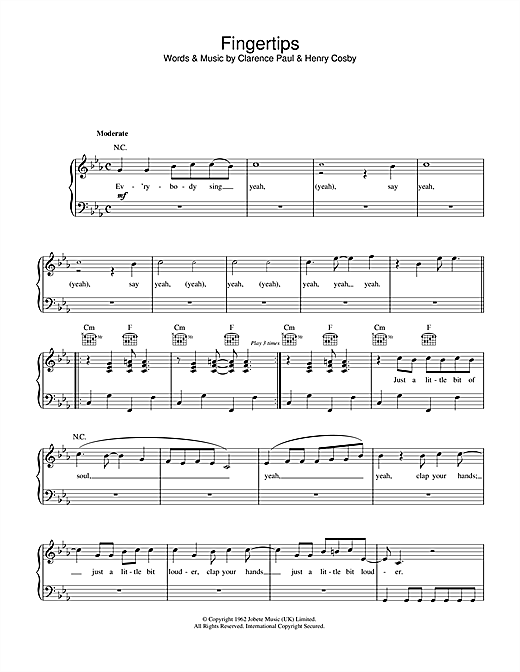 Stevie Wonder Fingertips sheet music notes and chords. Download Printable PDF.