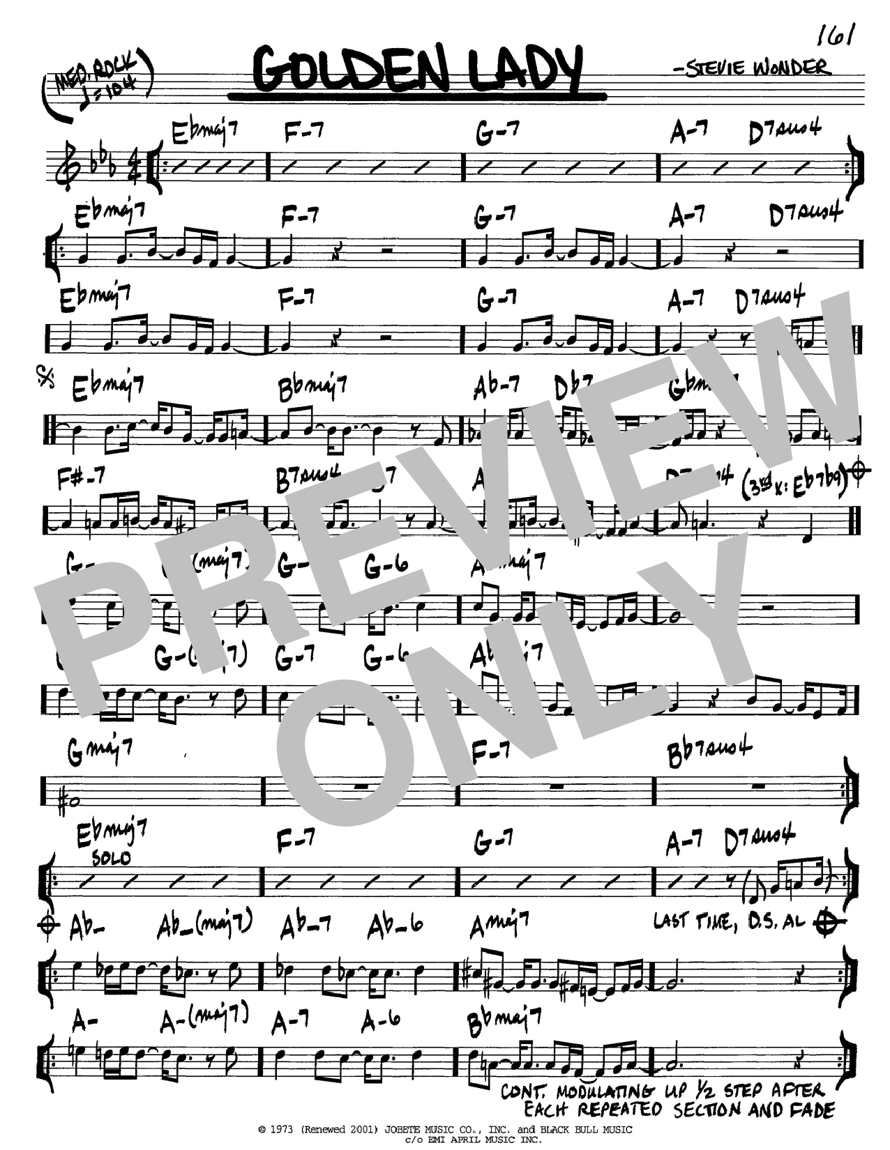 Stevie Wonder Golden Lady sheet music notes and chords. Download Printable PDF.