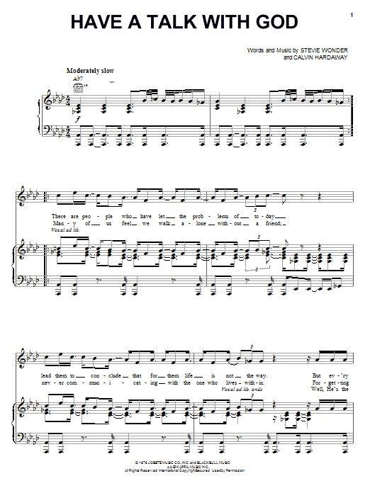Stevie Wonder Have A Talk With God sheet music notes and chords