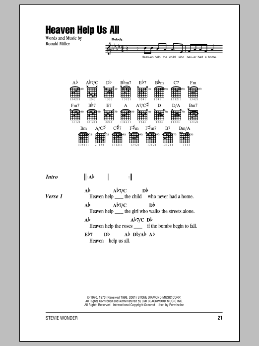 Stevie Wonder Heaven Help Us All sheet music notes and chords. Download Printable PDF.