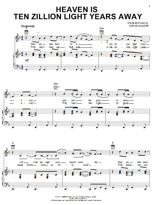 Stevie Wonder Heaven Is Ten Zillion Light Years Away sheet music notes and chords. Download Printable PDF.