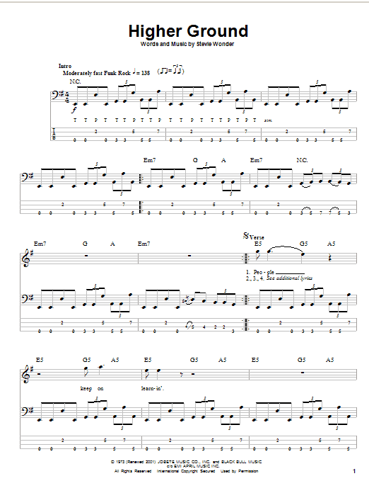 Stevie Wonder Higher Ground sheet music notes and chords. Download Printable PDF.