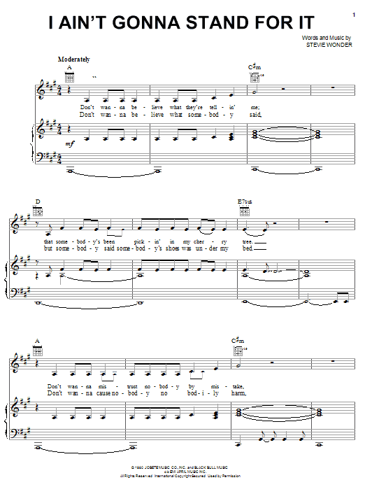 Stevie Wonder I Ain't Gonna Stand For It sheet music notes and chords