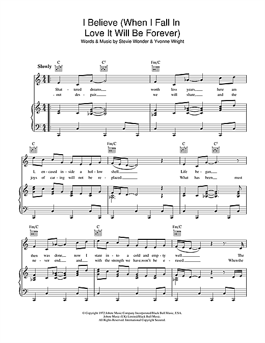 Stevie Wonder I Believe (When I Fall In Love It Will Be Forever) sheet music notes and chords. Download Printable PDF.