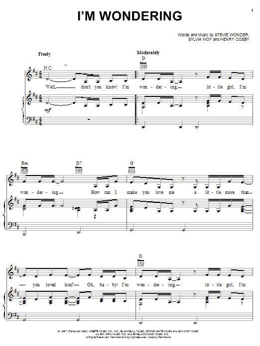 Stevie Wonder I'm Wondering sheet music notes and chords