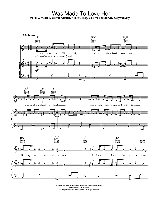 Stevie Wonder I Was Made To Love Her sheet music notes and chords. Download Printable PDF.