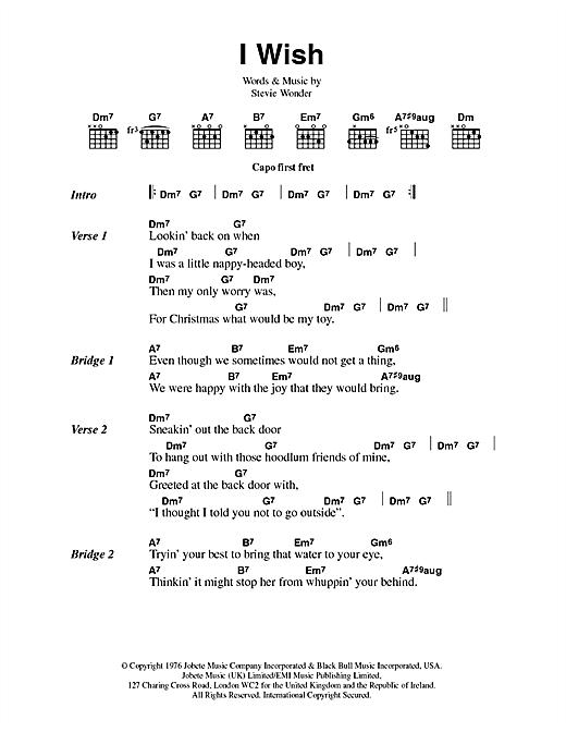Stevie Wonder I Wish sheet music notes and chords. Download Printable PDF.