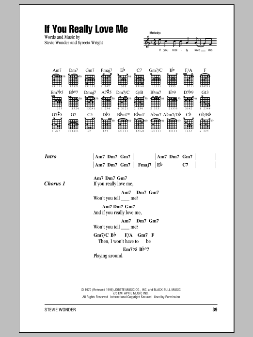 Stevie Wonder If You Really Love Me sheet music notes and chords. Download Printable PDF.