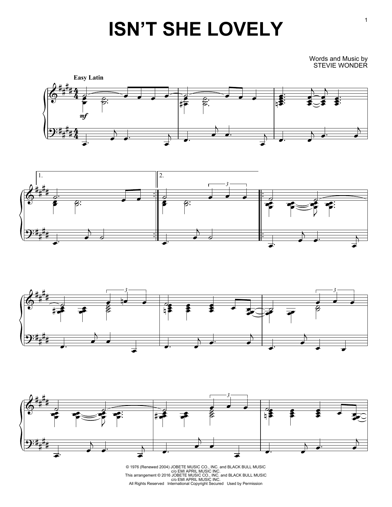 Stevie Wonder Isn't She Lovely [Jazz version] sheet music notes and chords. Download Printable PDF.