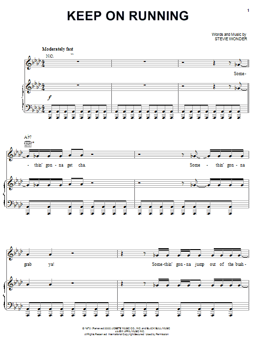 Stevie Wonder Keep On Running sheet music notes and chords. Download Printable PDF.