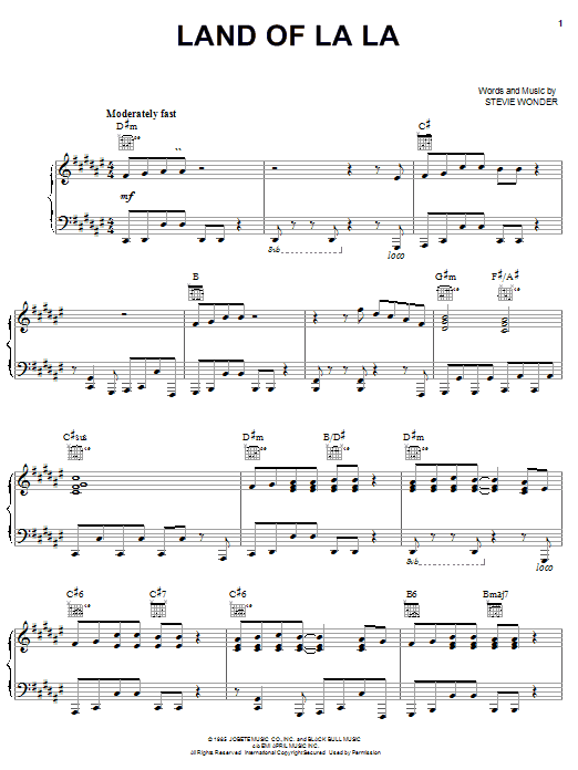 Stevie Wonder Land Of La La sheet music notes and chords. Download Printable PDF.