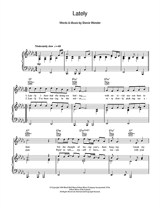 Stevie Wonder Lately sheet music notes and chords. Download Printable PDF.
