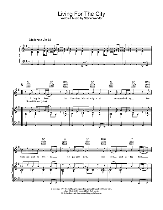 Stevie Wonder Living For The City sheet music notes and chords. Download Printable PDF.
