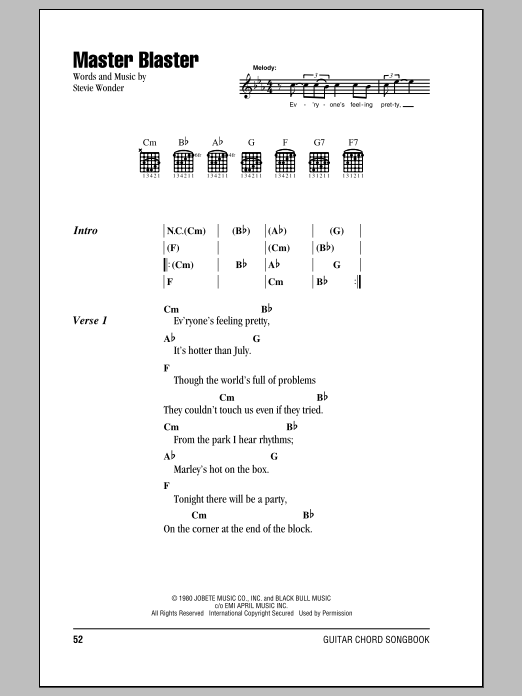 Stevie Wonder Master Blaster sheet music notes and chords. Download Printable PDF.