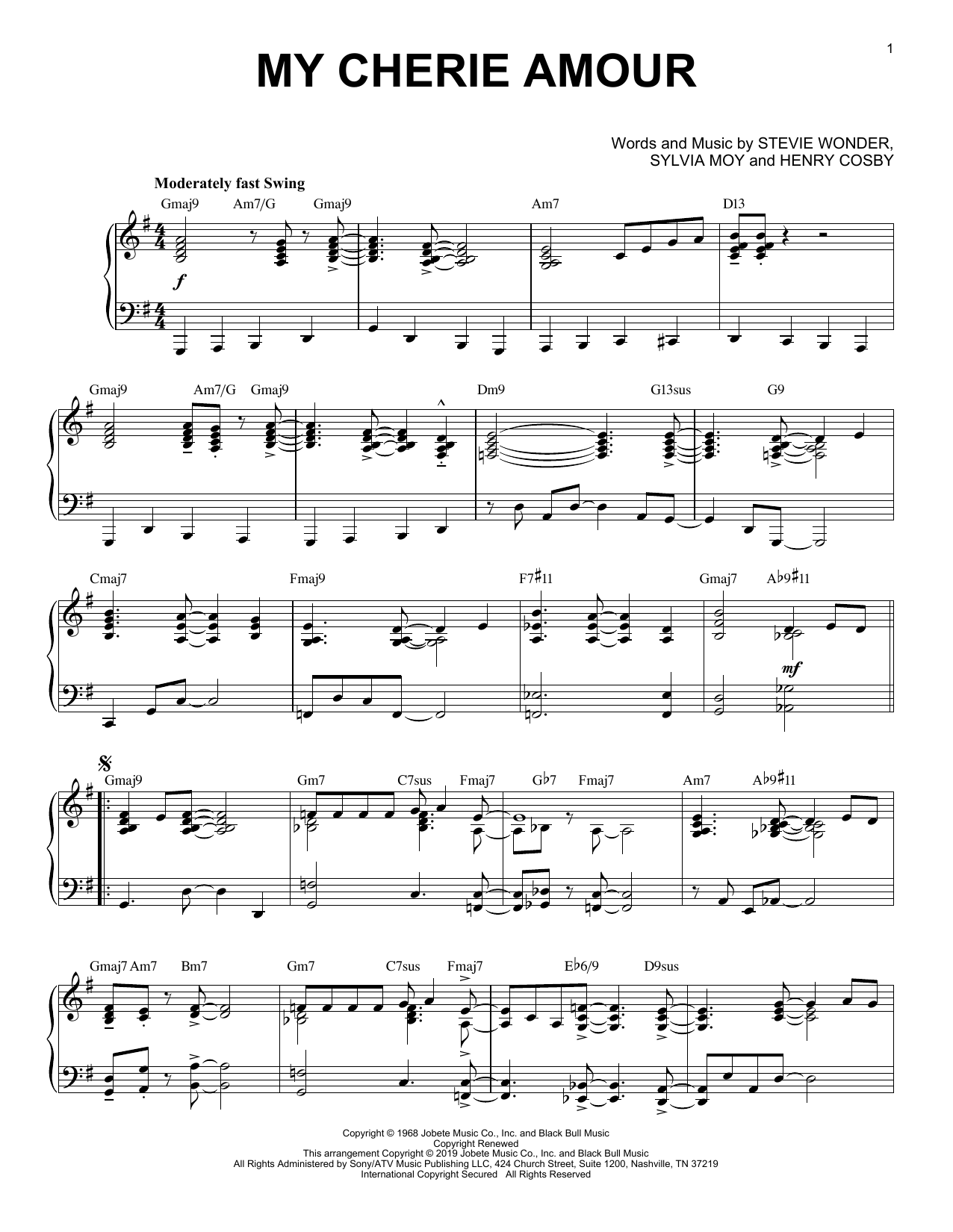 Stevie Wonder My Cherie Amour [Jazz version] sheet music notes and chords